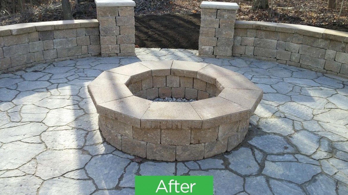 Residential Brick & Stone Patio Fire Pit Hardscaping, Medina, OH 44256